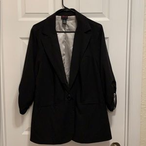 Torrid black blazer with ruched sleeves
